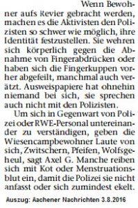 Auzug Bericht hambacher Forst