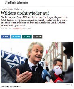 Wilders dreht auf